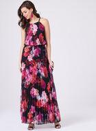 BA Nites – Pleated Halter Dress, Red, hi-res
