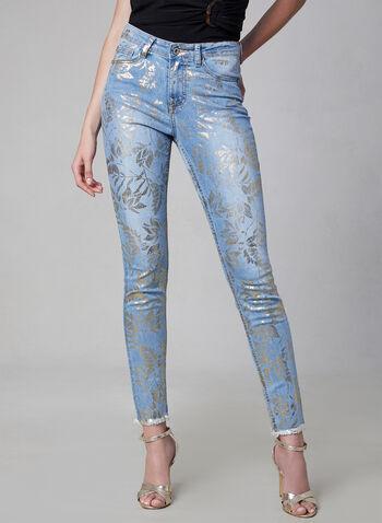 Frank Lyman - Foil Floral Print Jeans, Blue, hi-res