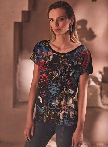 Joseph Ribkoff - Graffiti Print Tee, Black,  spring summer 2021, Joseph Ribkoff, Joseph Ribcoff, Frank Lyman, Made in Canada, mixed media, graffiti, print, abstract, top, tee, t-shirt, round neck, contrast, short sleeve, drop shouldr, back slit, soft, stretch, comfort, online exclusive