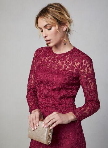 Maggy London - Long Sleeve Lace Dress, Red,  dress, evening dress, cocktail dress, midi dress, midi, slim, lace, long sleeves, pearl, fall 2019, winter 2019