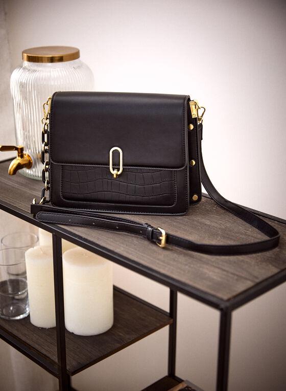 Vegan Leather Crossbody Bag, Black