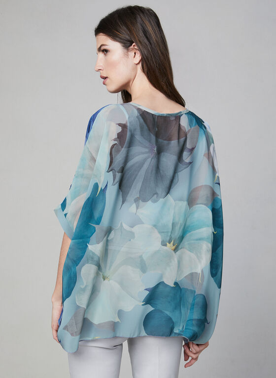 Compli K - Blouse fleurie avec jeu de transparence, Bleu, hi-res
