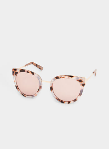 Rounded Cat Eye Sunglasses, Off White, hi-res