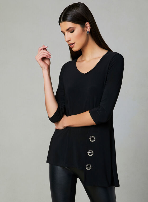 Joseph Ribkoff - ¾ Sleeve Blouse, Black, hi-res