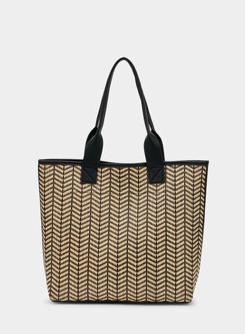 Sac fourre-tout motif zigzag, Noir, hi-res,  sac fourre-tout, zigzag, printemps 2019