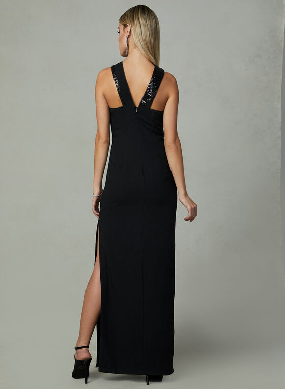 Aidan Mattox - Halter Neck Dress, Black, hi-res