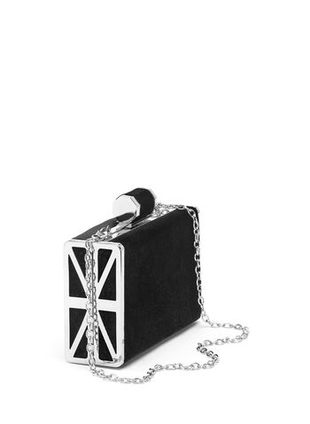 Velvet Box Clutch, Black, hi-res