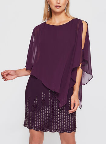 Beaded Chiffon Poncho Dress, Purple, hi-res