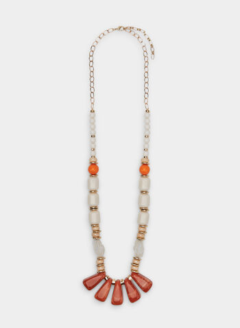 Collier long à billes variées, Orange, hi-res
