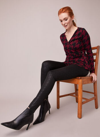 Houndstooth Motif Kayla Leggings, Black,  fall winter 2020, leggings, kayla, houndstooth, slim leg, ponte di roma