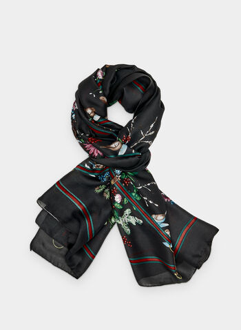 Floral Print Scarf, Black,  bouquet, silky, floral, diamond, fall 2019, winter 2019