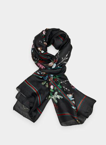 Foulard à imprimé bouquets de fleurs, Noir,  bordures contrastantes, fleurs, floral, motif, motifs, automne hiver 2019