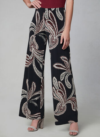 Paisley Print Wide Leg Pants, Black, hi-res,  palazzo, pull-on, jersey, fall 2019, winter 2019