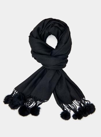 Foulard léger à détails pompon, Noir, hi-res