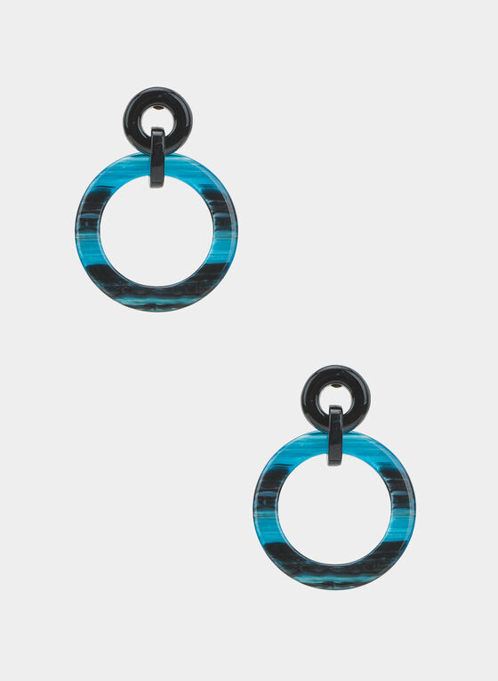 Tiered Marbleized Earrings, Blue, hi-res