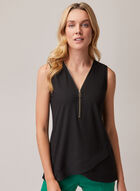 Zipper Detail V-Neck Top, Black
