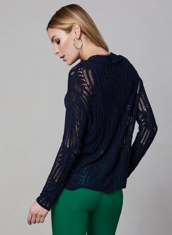 Scalloped Hem Crochet Sweater, Blue