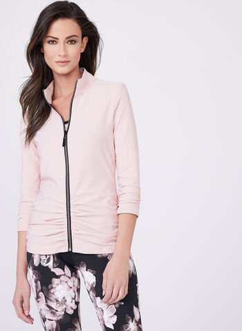 Frank Lyman - Ruched Mock Neck Jacket , Pink, hi-res