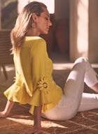 Joseph Ribkoff - Floral Appliqué Boat Neck Top, Yellow