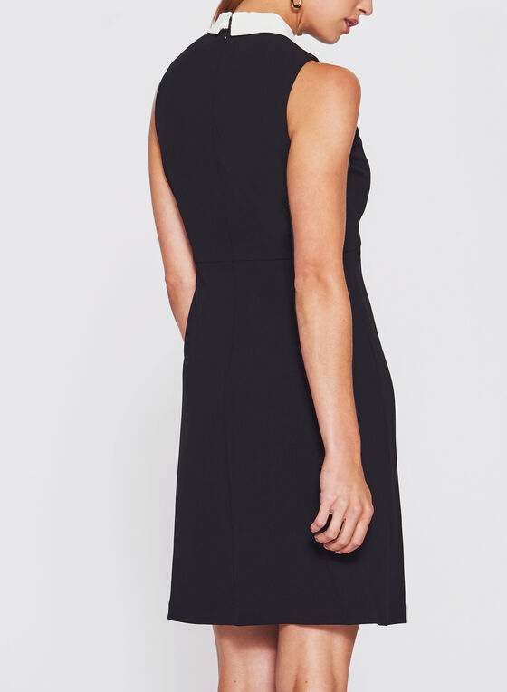 Ivanka Trump - Pointed Collar Trapeze Dress, Black, hi-res