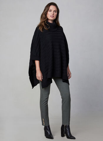 Echo New York - Knit Poncho, Black,  Echo New York, poncho, knit, fall 2019, winter 2019