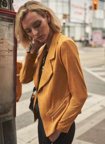 Vex - Faux Suede Jacket, Gold,  jacket, faux leather, suede, long sleeves, zipper detail, notched collar, fall winter 2020