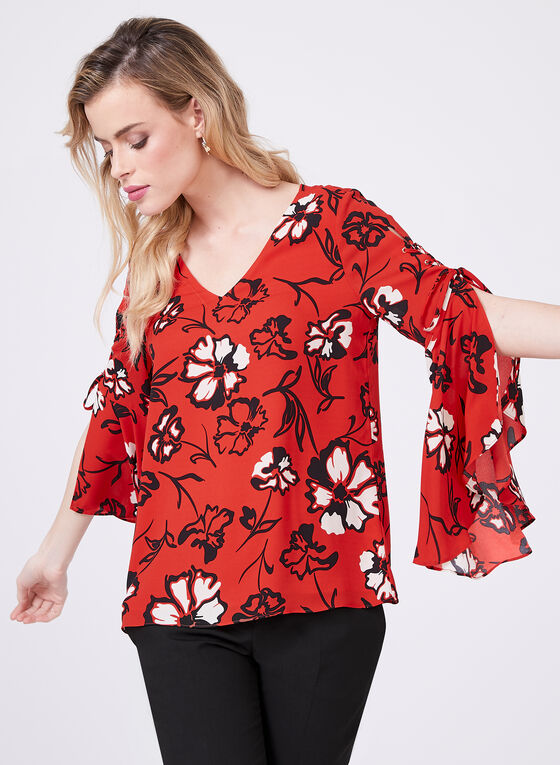 Laced Angel Sleeve Blouse, Red, hi-res