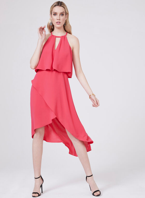 Adrianna Papell - Tiered Popover Dress, Red, hi-res