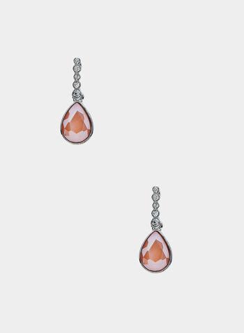 Crystal Teardrop Earrings, Orange, hi-res,  Spring 2019