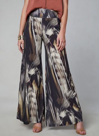 Compli K - Feather Print Wide Leg Pants, Black,  abstract print, jersey, palazzo, fall 2019, winter 2019, pull-on