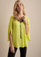 Joseph Ribkoff - Tulip Sleeve Zipper Collar Top, Green