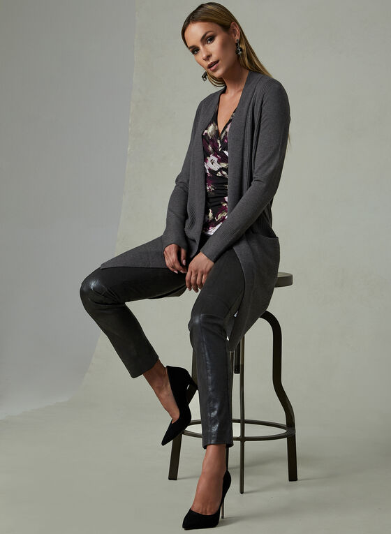 Long Open Front Cardigan , Grey, hi-res