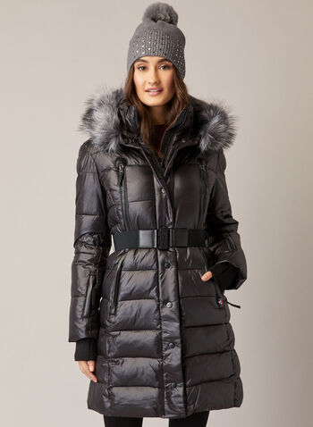 Sicily - Quilted Faux Fur Trim Coat, Black,  fall winter 2020, coat, quilted, Sicily, faux fur, zipper, pockets, down, belt, Made in canada
