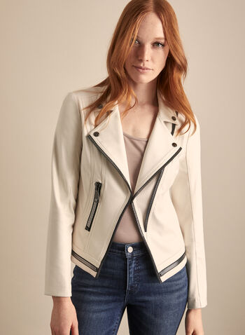 Vex - Contrast Zipper Faux Leather Jacket, Off White,  jacket, faux leather, zipper, contrast trim, long sleeves, shoulder pads, spring summer 2020