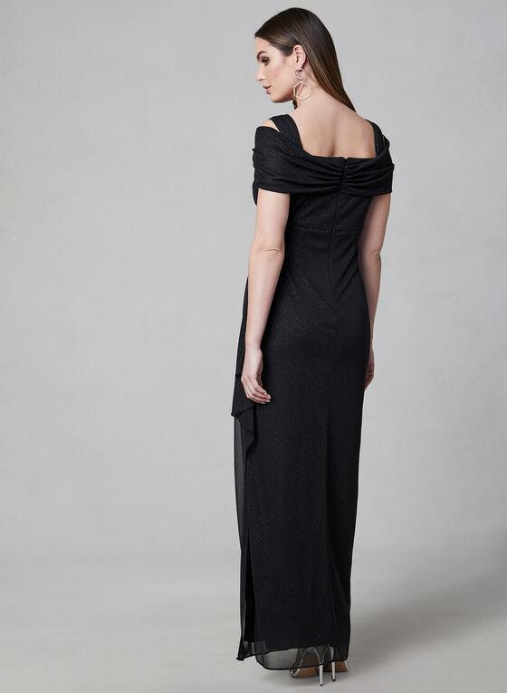 Alex Evenings - Glitter Cold Shoulder Dress, Black, hi-res