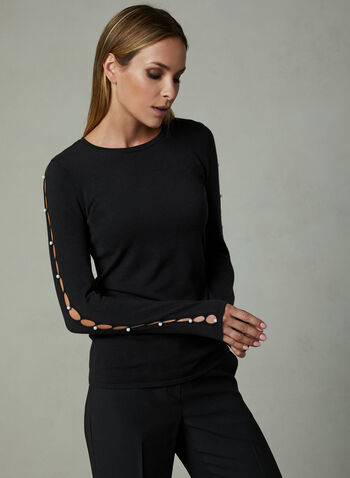 Pearl Detail Cutout Sleeve Sweater, Black, hi-res
