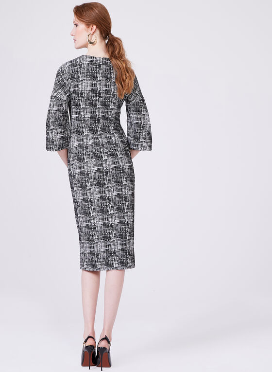 Maggy London - Abstract Print Jacquard Sheath Dress, Black, hi-res