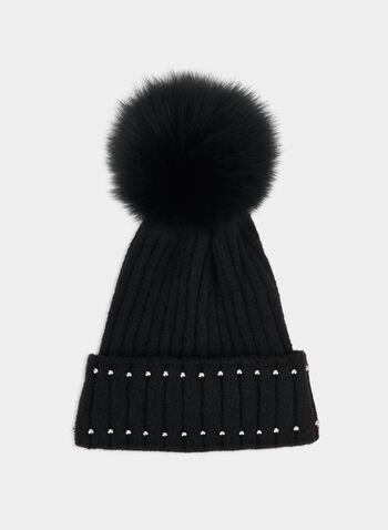 Bonnet à pompon et détails de billes, Noir, hi-res,  fourrure, fourrure véritable, fourrure de renard, automne hiver 2019, billes métalliques, tricot texturé, tricot
