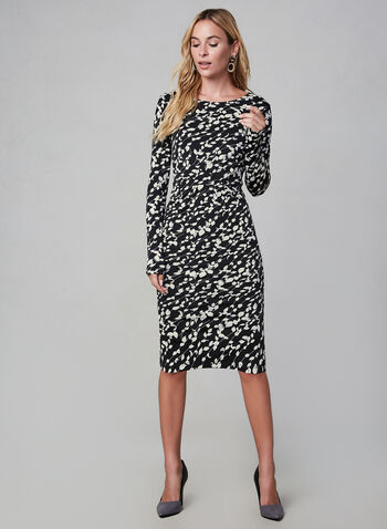 Smashed Lemon - 3/4 Sleeve Contrast Print Dress, Black, hi-res,  smashed lemon, dress, day dress, jersey, 3/4 sleeves, fitted cut, round collar, fall 2019, winter 2019