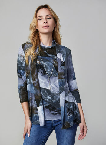 Frank Lyman - 3/4 Sleeve Open Front Duster, Grey,  duster, jacket, open front, marble print, 3/4 sleeves, lightweight fabric, made in canada, frank lyman, fall 2019