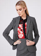 Plaid Print Single Breasted Blazer, Black, hi-res