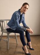 Fringe & Embroidery Denim Jacket, Blue