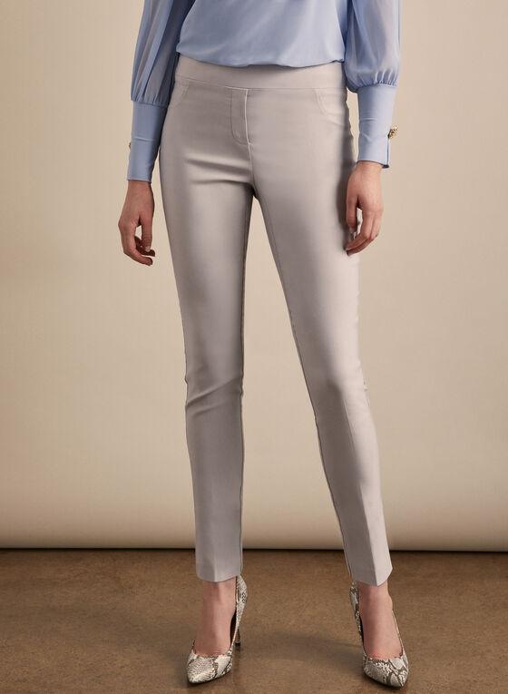 Pull-On Slim Leg Pants, Silver