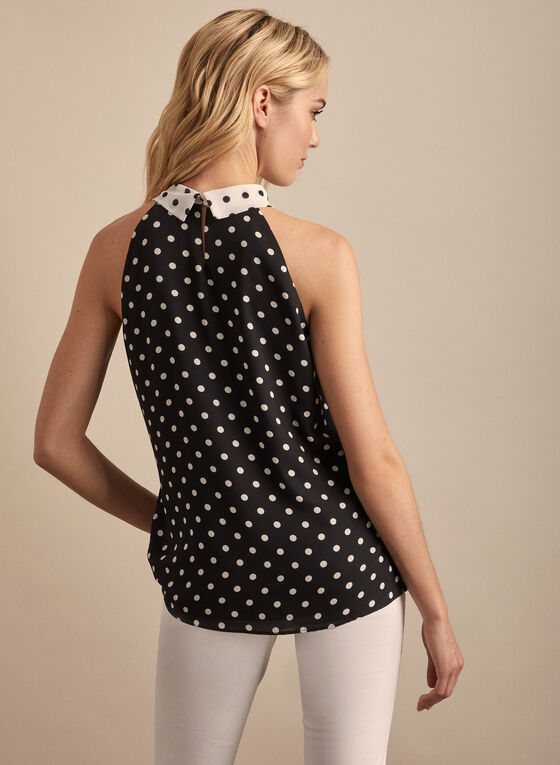 Polka Dot Print Sleeveless Blouse, Black