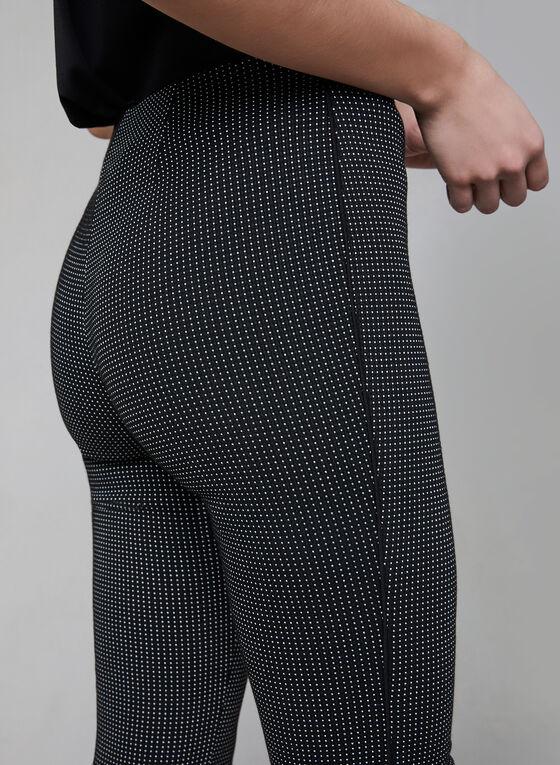 Pantalon pull-on à motif œil-de-perdrix, Noir, hi-res