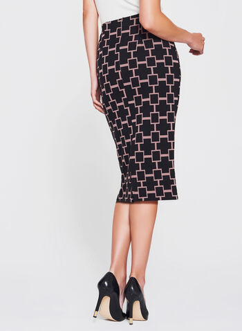 Geometric Print Pencil Skirt, Red, hi-res