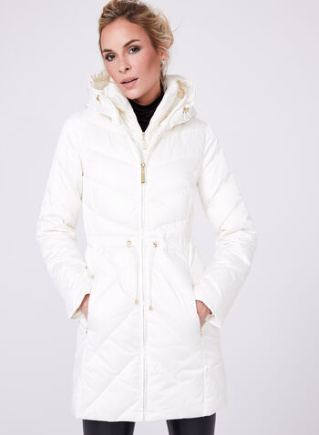 Ellen Tracy - Quilted Coat, Off White, hi-res