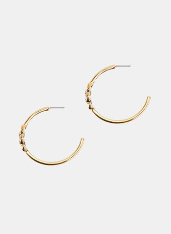 Crystal Embellished Hoop Earrings , Gold, hi-res