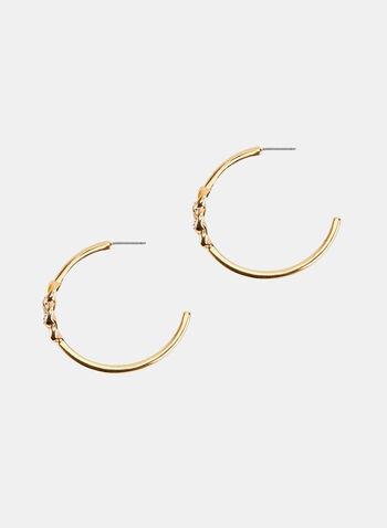 Boucles d'oreilles à anneaux avec détail torsadé, Or, hi-res