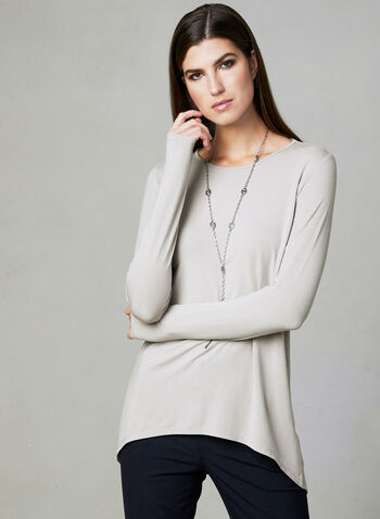 Long Sleeve Capelet Top, Off White, hi-res